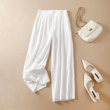 Artistic Retro High Waist Slimming Cotton and Linen Wide-Leg Pants Summer Loose Large Size Casual Al