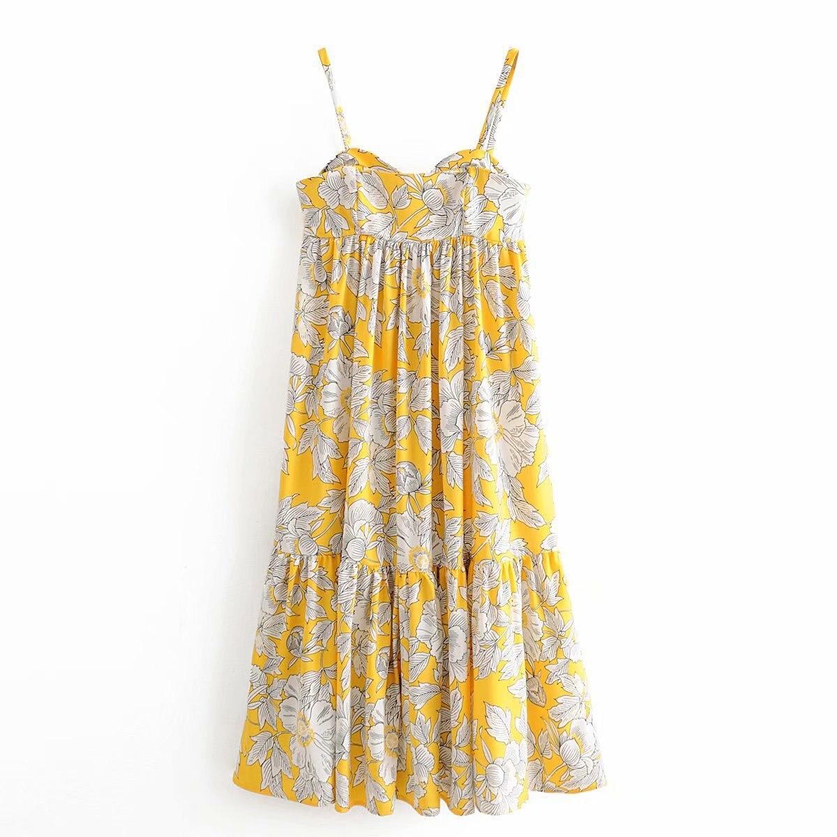 2020 Women's Yellow Printed Poplin Suspender Dress Women Sexy Spaghetti Strap Club Dresses Summer clothes Vestidos