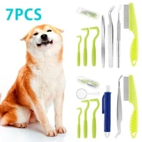 7pcs tick remover set painlessly tick twister close tooth comb tweezers pen magnifying glass tick remover tool for dog human cat