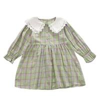 2021 summer baby girls cotton fashion lacework patchwork plaid dress korean style girl long sleeve turn down collar cute dresses