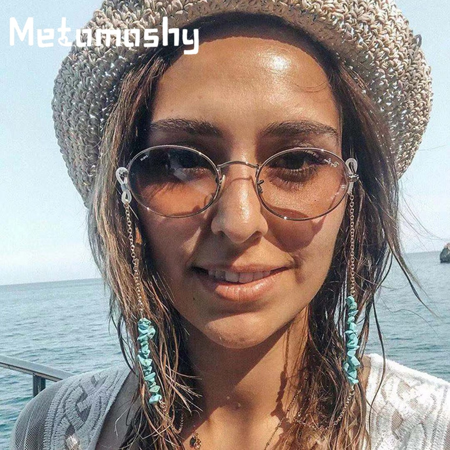 Moda óculos de sol corrente titular feminino natural turquesa pedra correntes de óculos retro óculos cinta landyard cordão para gafa