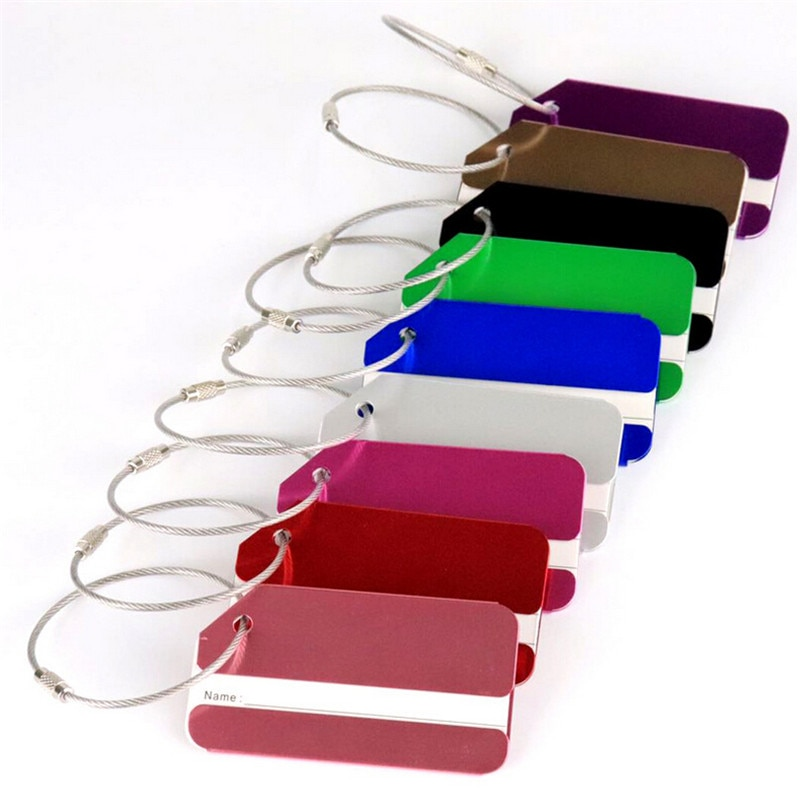 New Aluminum Luggage Tag ID Funky Travel Bagages Metal Label Straps Solid Color Simple Luggage Suitcase Tags Travel Accessories