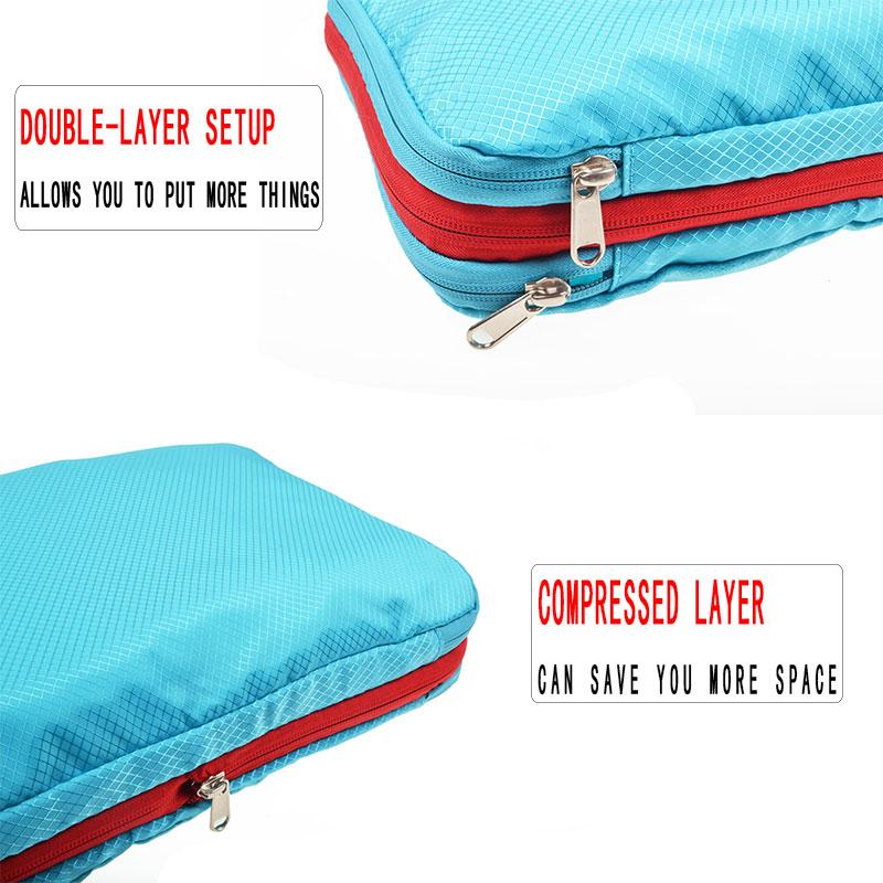 Bolsa de viaje de nailon azul impermeable de gran capacidad plegable bolsa de viaje organizador de cubos de embalaje de compresión impermeable