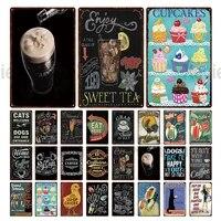 Plaque metallique retro pour Dessert et cafe  decoration de maison  tasse a gateau  the sucre  cafe  affiche dart mural