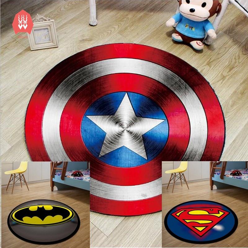 Alfombra redonda Batman alfombras suaves impresas Superman Anti-slip alfombras superhéroe alfombrilla para silla de ordenador alfombra de piso de la habitación de los niños