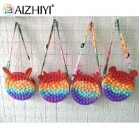 push bubble round shoulder crossbody bag silicone small purse handbags decompression puzzle sensory toys for autism adhd rainbow