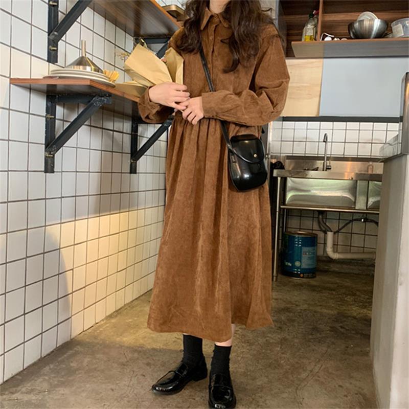 Vestido de manga larga de pana suelto elegante para estudiante
