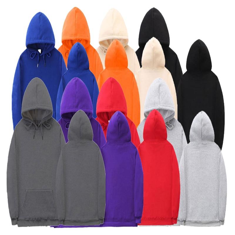 Толстовка мужская однотонная, Модная молодежная повседневная кофта с капюшоном, спортивный удобный пуловер, кофта для пар, Осень-зима