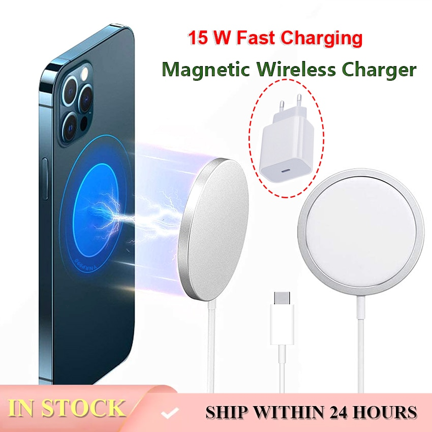 Magnetic Wireless Charger with USB-C Integrated Cable Portable for Mobile Phone 12 Pro Max 15W Qi Ma