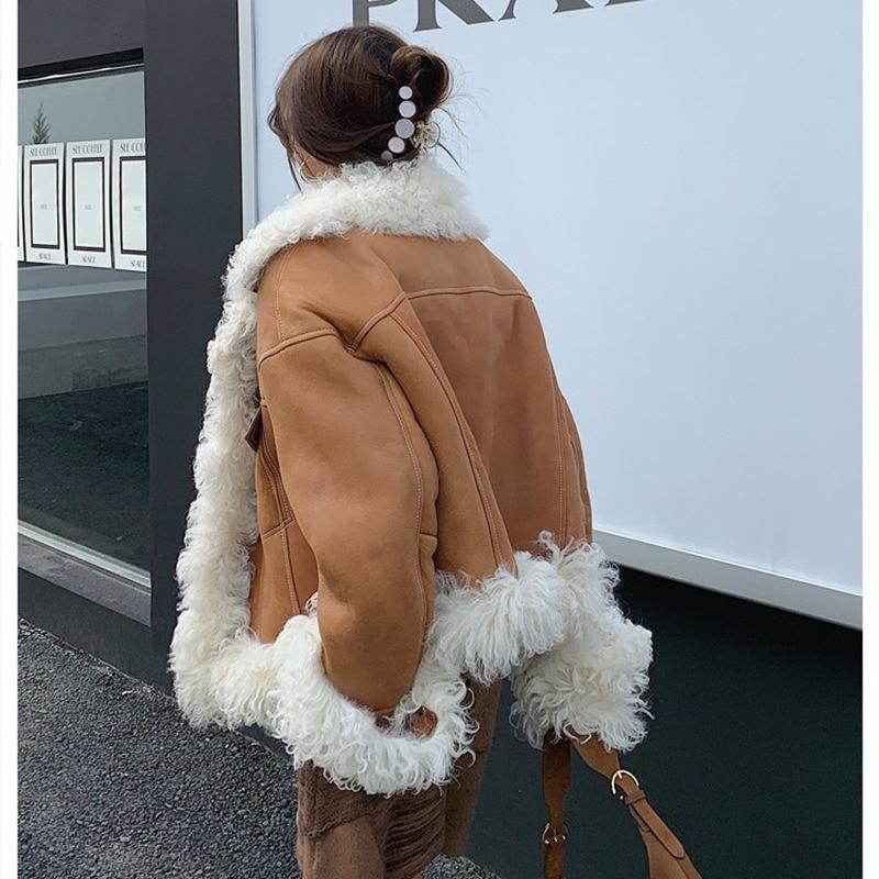Женская двухсторонняя куртка из натуральной овечьей кожи, короткая мотоциклетная куртка с мехом монгольской овцы, Осень-зима 2020