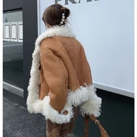 real sheep leather double faced fur mongolia sheep fur coat 2021new autumn and winter fashion warm motorcycle women short parka