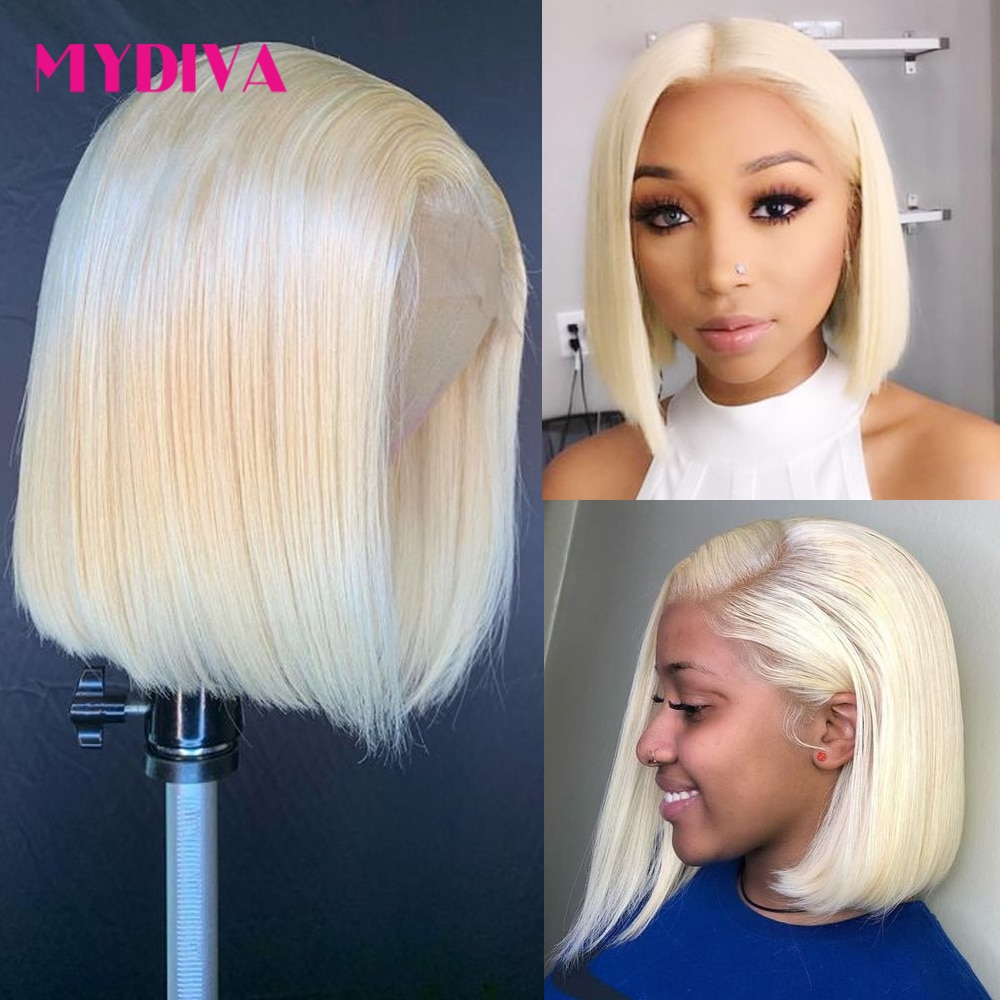 13x4 Lace Front Wig 613 Blonde Brazilian Straight Human Hair Bob Wigs 16 Inch Remy Short Bob Lace Front Wigs 130% For Women