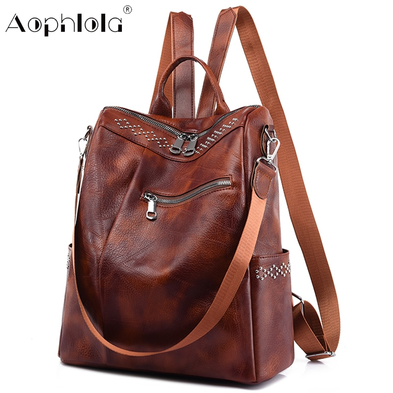 Fashion Backpack 2021 New Luxury Ladies Casual High Quality Soft Leather Travel Backpack Large Capacity Comfortable School Bag