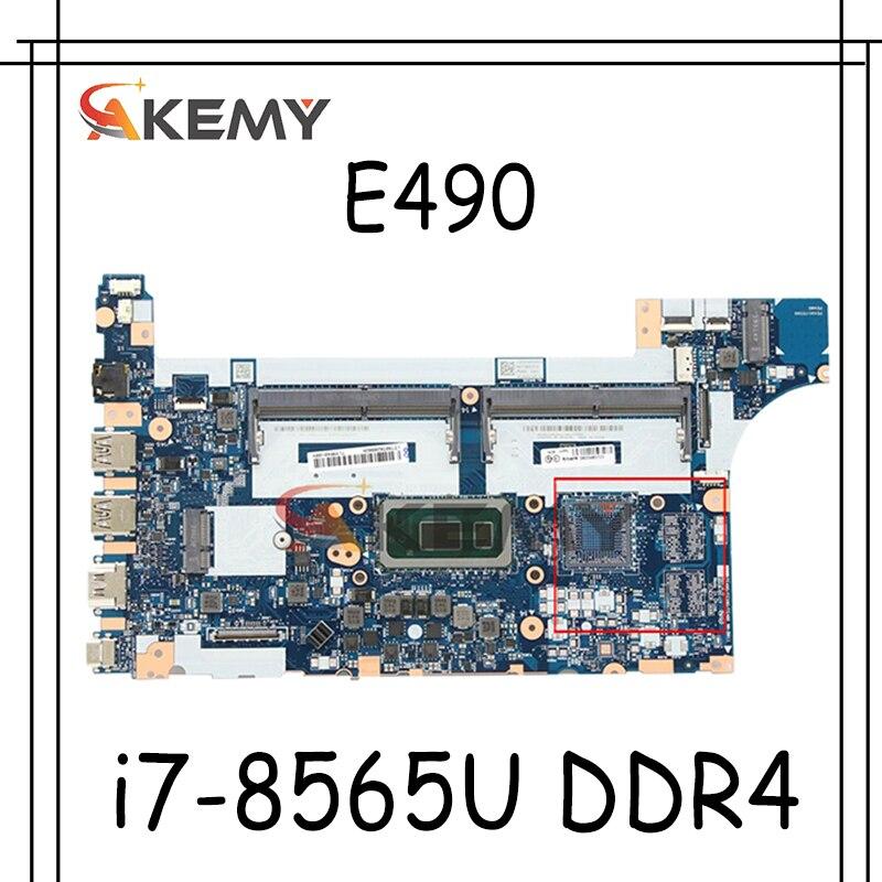 Akemy لينوفو ثينك باد E490 E590 دفتر اللوحة NM-B911 وحدة المعالجة المركزية i7-8565U DDR4 اختبار 100% العمل FRU 5B20V80732 5B20V80729