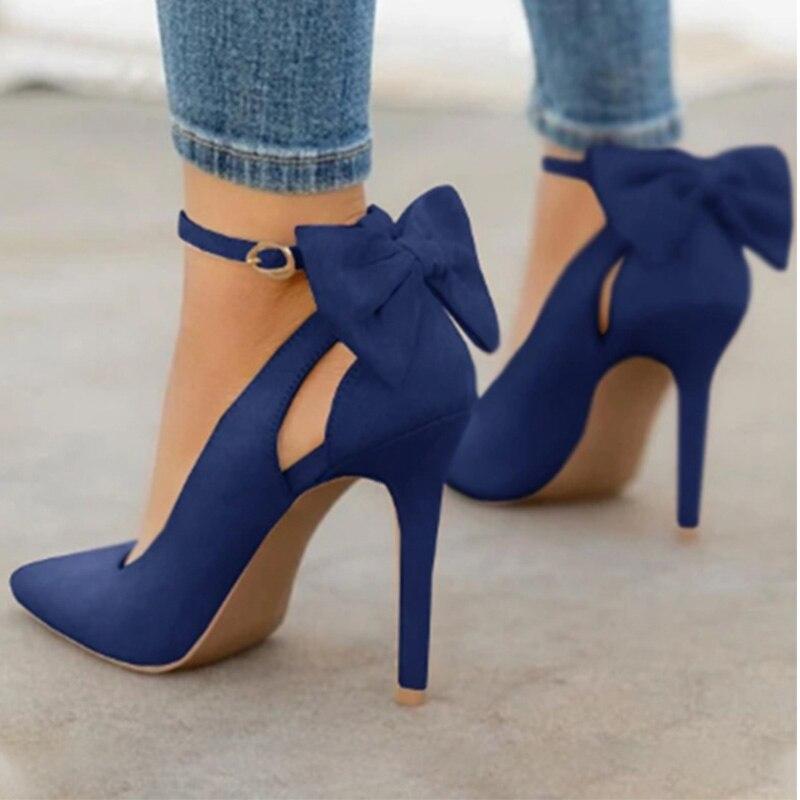 النساء أشار تو عالية الكعب امرأة رقيقة الكعوب السيدات مضخات مثير السيدات مشبك حزام الإناث الأحذية Bowknot الموضة حجم كبير 34-43