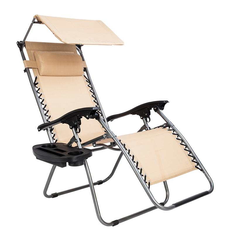 Zero Gravity Lounge Chair with Canopy Folding Chair Poolside Backyard Beach Outdoor Lounge Recliner travel chair lounge lizard model black