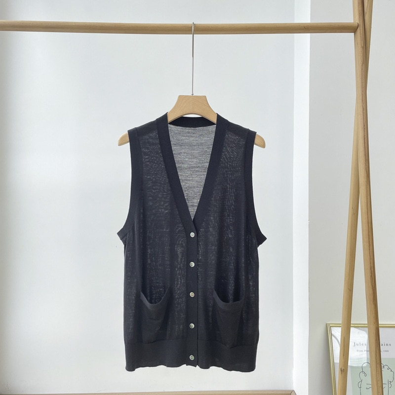 SHUCHAN New Sweater Vest Women Woolen Sleeveless  Pockets  V-Neck  Solid  Single Breasted  Spring/Autumn  Thin (Summer) enlarge