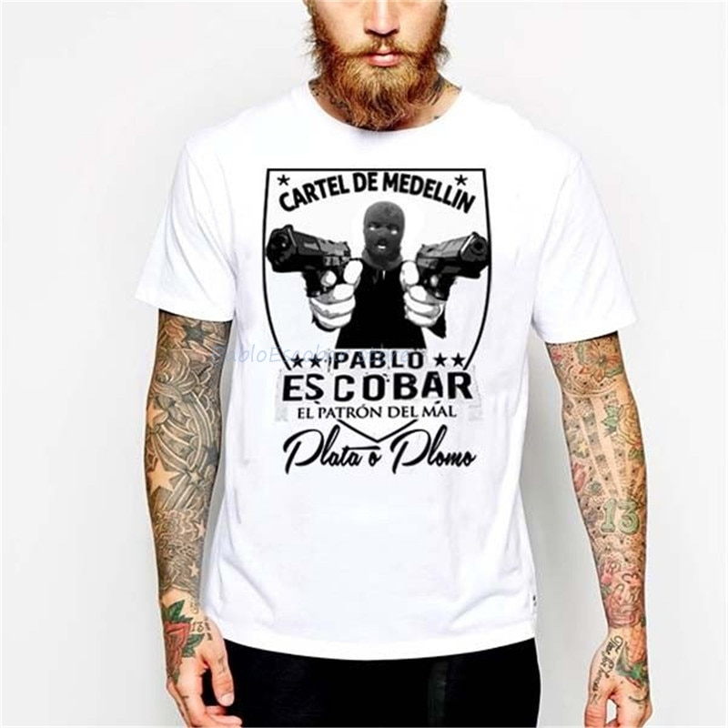 Pablo Escobar T-Shirt Medellin Cartel Gangster Sicario Mafia Hitman Plata Plomo nouvelles tendances T-Shirt