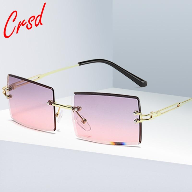 CRSD 2020 Fashion Rectangle Gradient Sunglasses Women Rimless Sun Glasses Luxury Sunglasses for Wome