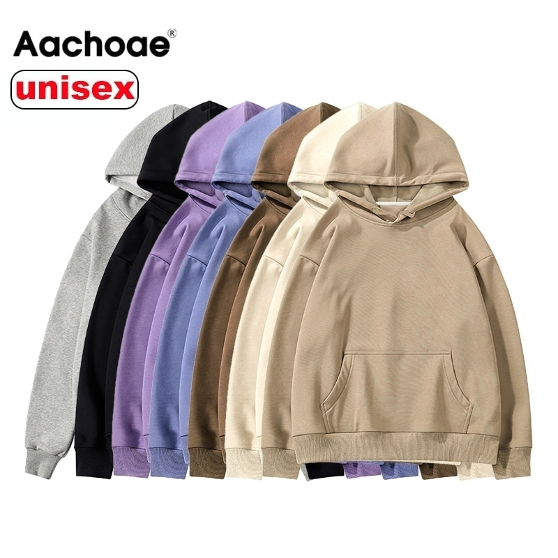 Aachoae Women Couple Hoodies Sweatshirt Fleece 100% Cotton Tracksuit Sports Sweatshirt 2020 Winter Japanese Casual Loose Jumper