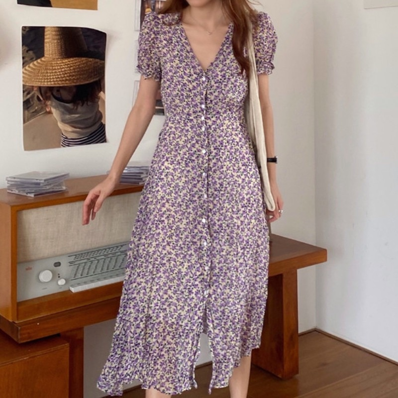 Women's Summer French Style Dress Vintage Floral V-neck Single Breasted Lace-up Waist-Controlled Sli