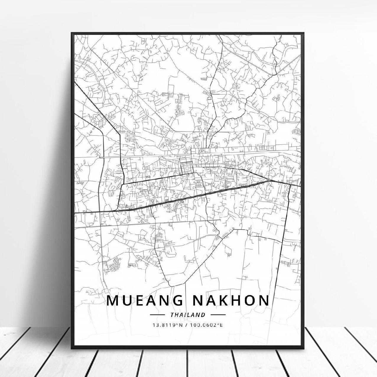Mueang nakhon Chon Burl Bangkok Pattaya Chiang Mai Udon Thani  Phuket Thailand Canvas Art Map Poster