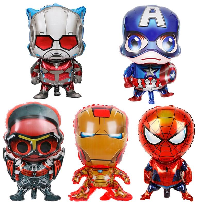 5 шт./компл. супергерой, алюминиевые воздушные шары, мультфильмы, Капитан Америка, Железный человек, Человек-паук, человек-муравей, детские ук...