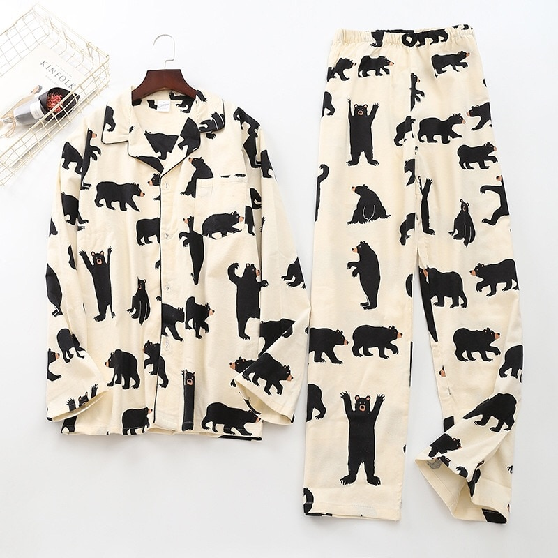 Cute white bear 100% brushed cotton men pajama sets Autumn Casual fashion animal sleepwear men homewear  pijamas mujer
