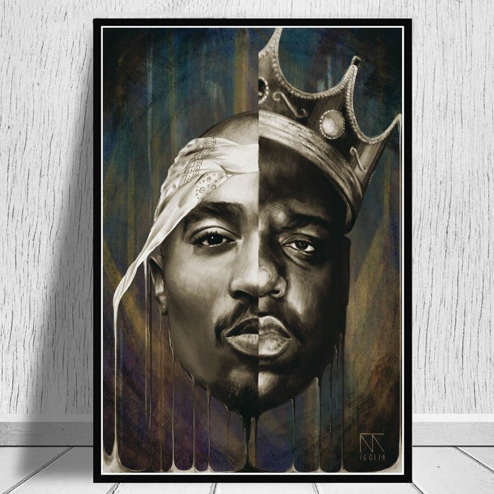 Pôster e impressões de parede biggie e tupac, rapper, arte da moda, hip hop, muisc, singer, pintura de retrato, imagem