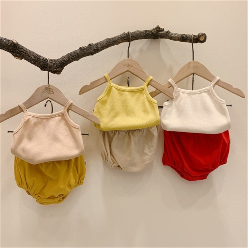 Newborn Baby Girls Suit for Kids Solid Sling Vest Tops Triangle Climb Shorts Outfits 2021 New Children's Set