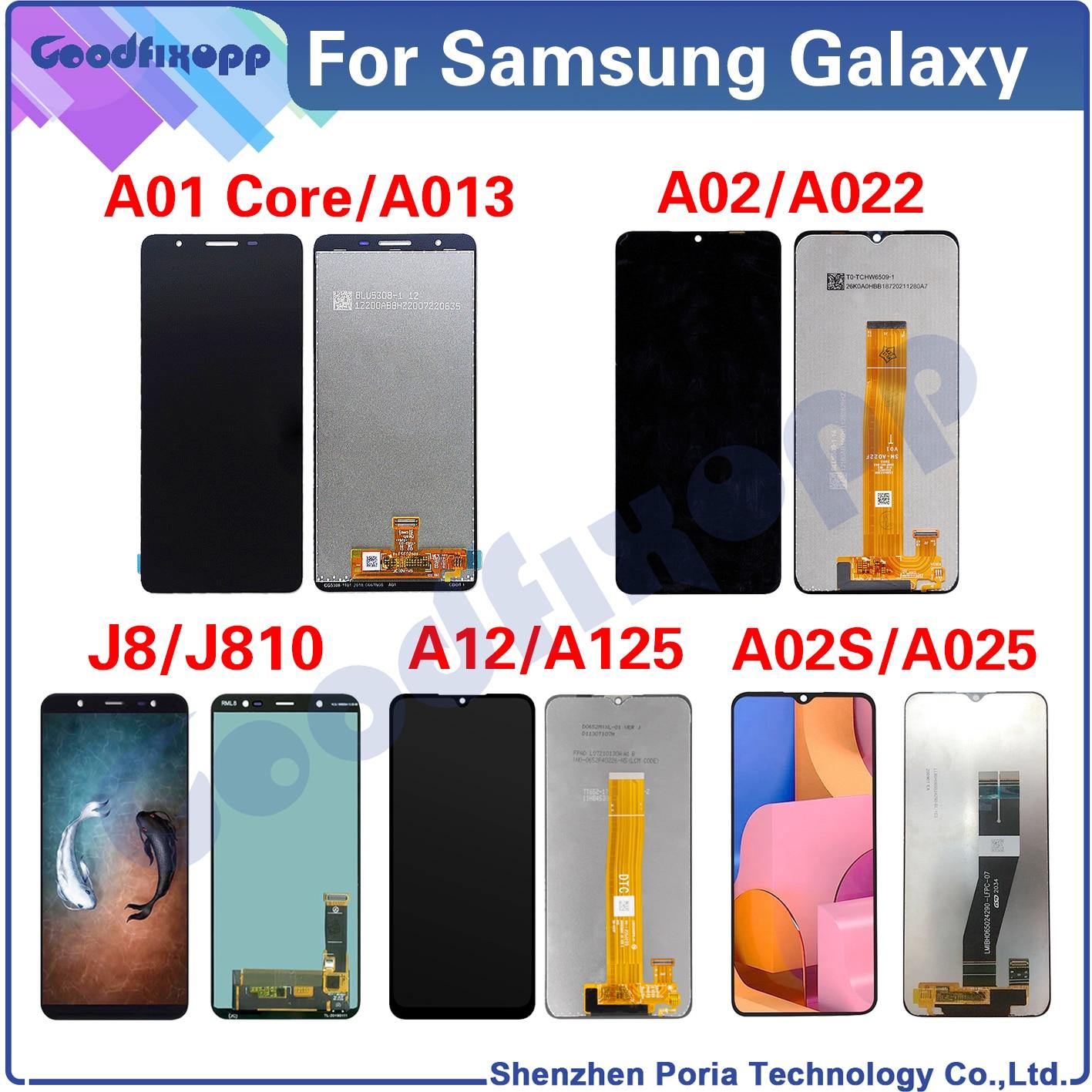 100% اختبار AAA لسامسونج غالاكسي A01 كور A02 A02S A12 J8 SM-A013F A022F A025F J810F LCD عرض تعمل باللمس محول الأرقام الجمعية