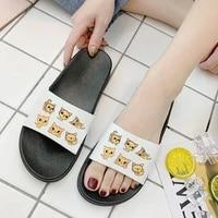 shoes for women summer slippers cute cat cartoon ladies beach sandals home indoor non slip flip flops slides female plus size 41