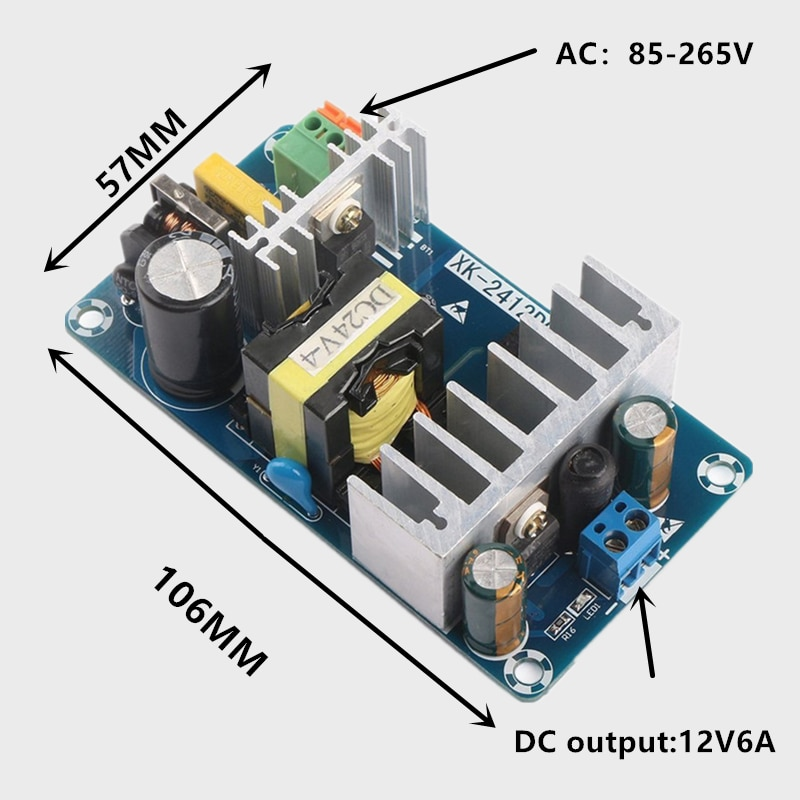 AC 85-265V to DC 12V 24V-6A 100W Switching Power Supply Board Power Supply Module