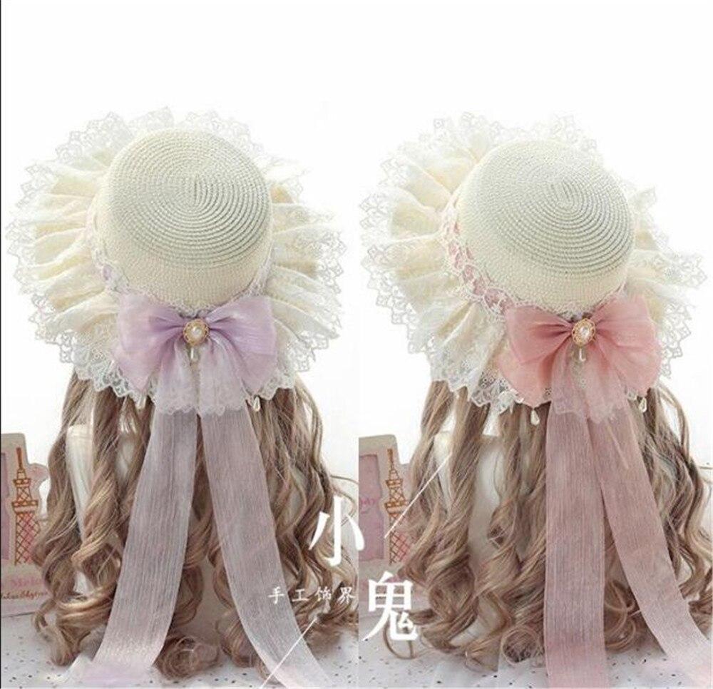 Hada Kawaii princesa Mori chica Sombrero de Paja de verano sombrero de sol de playa de las mujeres japonés dulce Lolita lazo cinta plana sombrero