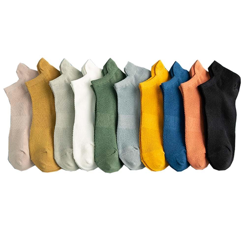 Летняя Мужская дышащая обувь из хлопка на плоской подошве; Повседневные Цвет, носки-башмачки, дешево, оптовая продажа, 10 пар