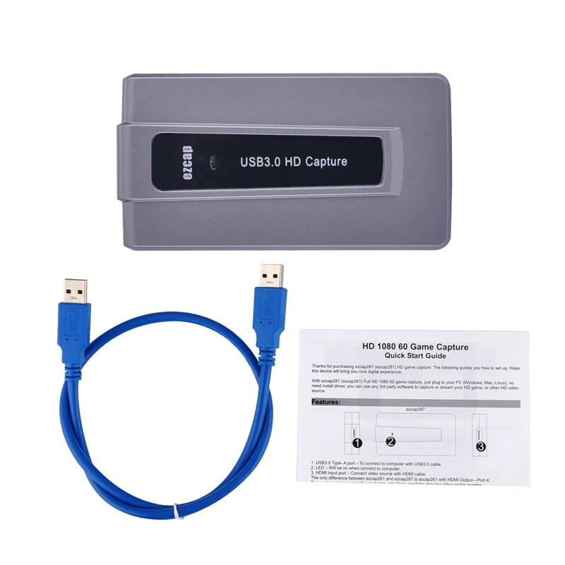 HDMI a USB 3,0 juego para teléfono Tarjeta de captura de vídeo grabación 1080P 60 caja de transmisión en vivo OBS Windows Mac a Twitch Youtube Direct