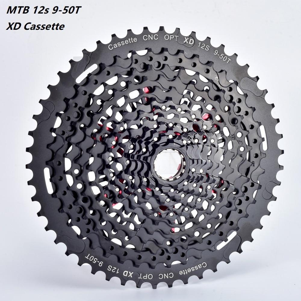 MTB 12 Velocidad XD Cassette ultraligero 12s 9-50T negro cinta de bicicleta de montaña 12s 9-50t rueda libre 12V Cassette k7 CNC piñón