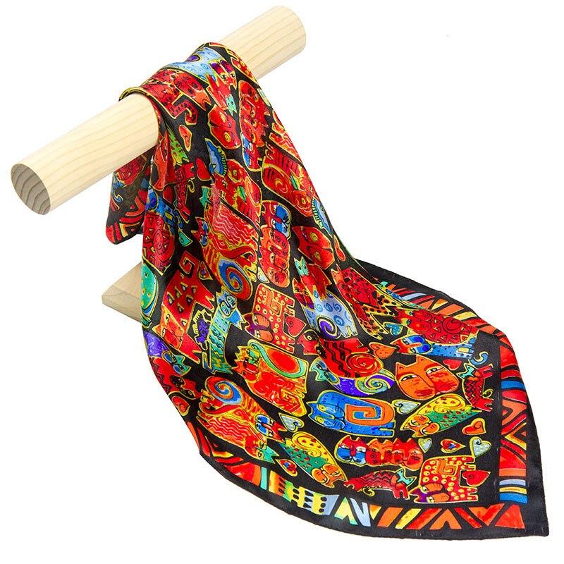 Pañuelo de seda Natural para mujer, pañuelo de pelo de gato para mujer, pañuelo de seda cuadrado para mujer, pañuelo para la cabeza y máscara facial