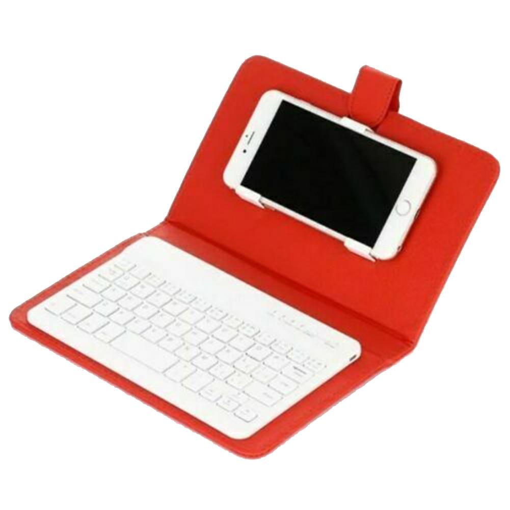 Mini teclado inalámbrico Bluetooth portátil con Funda de cuero para Smartphone PUO88