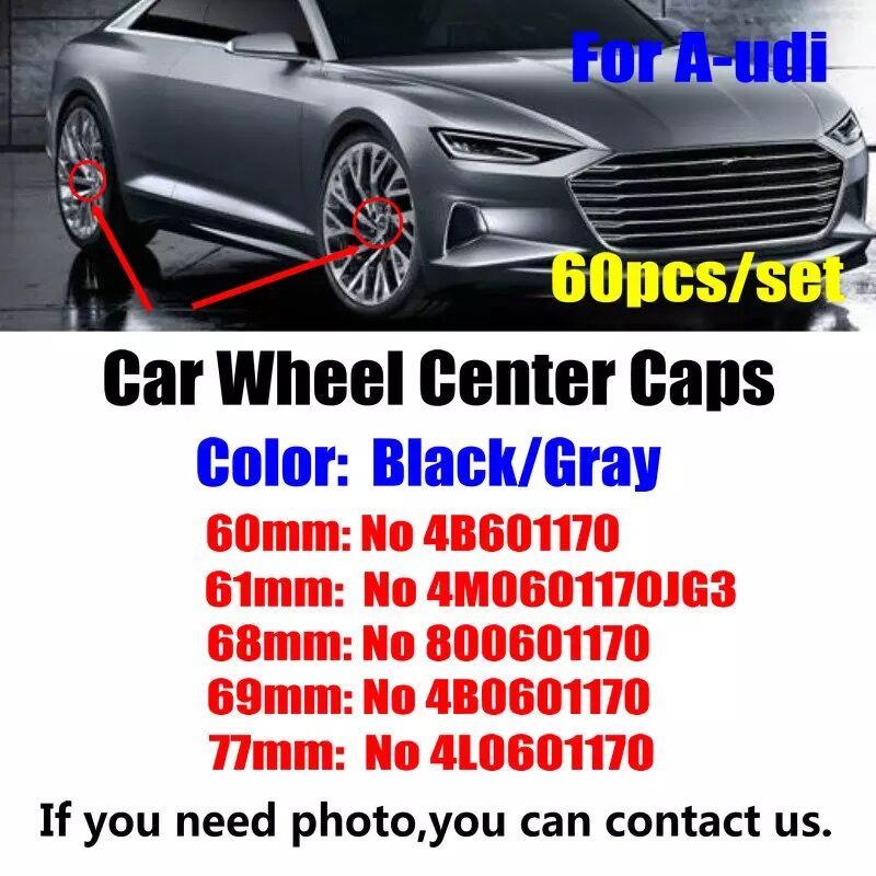 60PCS 60MM 61MM 68MM, 69MM 77MM para AUDI A1 A2 A3 A4 A5 A6 A7 A8 Q1 Q3 Q5 Q7 coche emblema insignia de centro de la rueda de ABS cubre