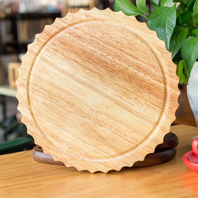 9 pulgadas de goma de madera de la Pizza de la cáscara creativa de la flor del sol de la forma de la carne platos de la carne tabla redonda de cortar bandejas para servir alimentos