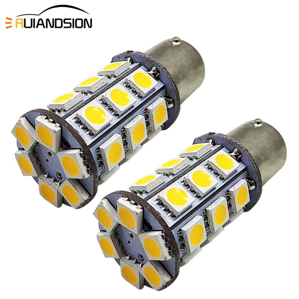 4 Uds. Bombilla LED de coche de 4W amarillo 6V 10-80V 1156 BA15S P21W 5050SMD Moto barco caravana luz de señal inversa de freno 3000k
