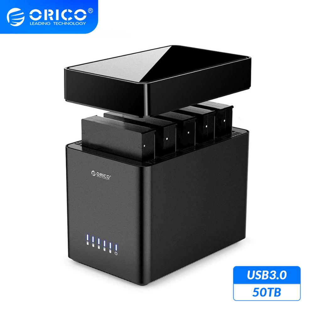 ORICO DS Series 5 Bay Magnetic 3.5'' USB3.0 HDD Docking Station Support 50TB Max 5Gbps UASP HDD Case Tool Free HDD Enclosure 12V