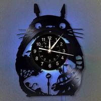 Cartoon Wall Clock 12-Inch LED Vinyl Record Wall Clock | Luminous wall clock Totoro Gift | Home Decor Modern Design Wall Clock.