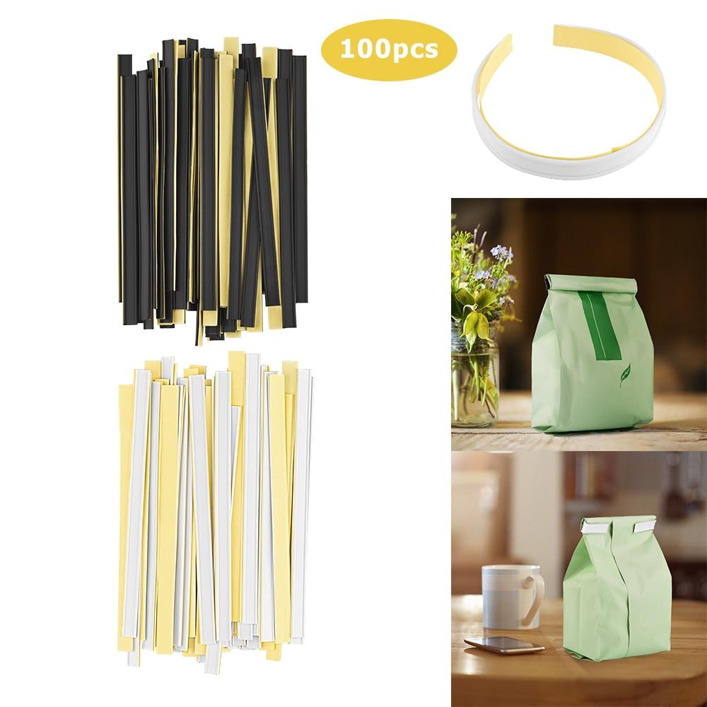 100 corbatas de plástico para peeling and stick amarillas y negras, 23 gramos de alambre flexible, corbatas para bolsas de café adheridas a bolsas de papel