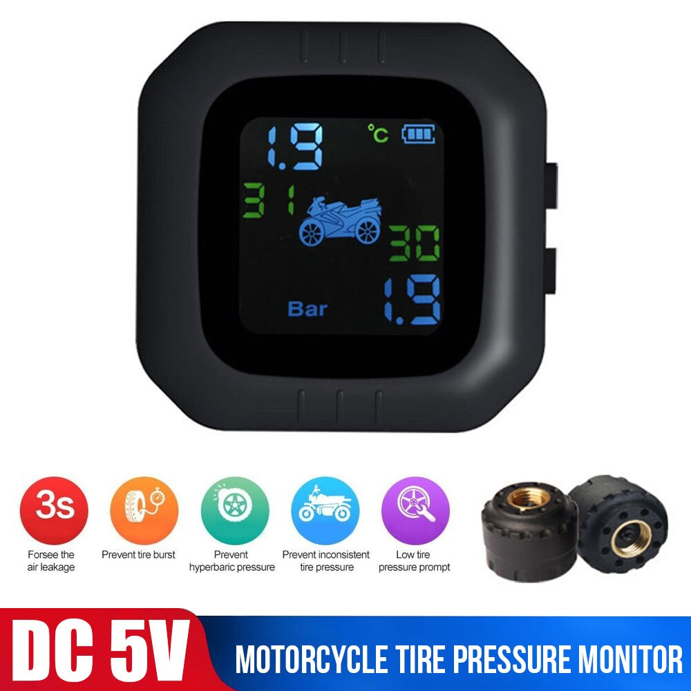 Motorcycle Tire Pressure Monitoring Alarm Iocomotive Tire Pressure Detector Wireless High-precision Tire High Temperature Alarm