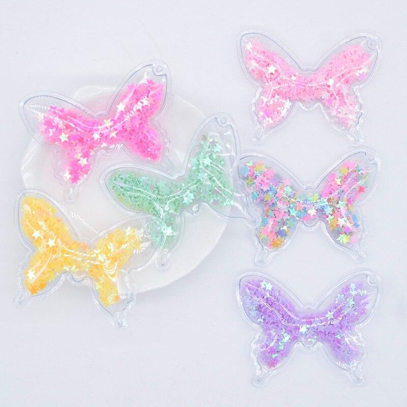 Paillettes de remplissage en PVC Transparent 12 pièces   Appliques papillon A trou pour bricolage, Clips de cheveux, accessoire de décor pour pendentif, nœud