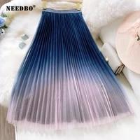 needbo pleated skirt women plus size tulle skirt women mesh gradient long skirt 2020 a line elastic high waist starry sky style