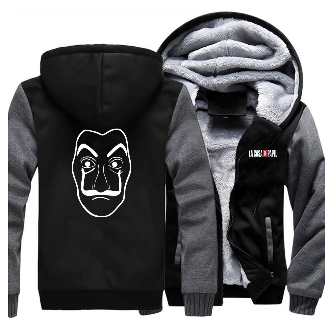La casa de papel jaquetas homem programa tv professor sergio marquina sweatshirts hoodies inverno grosso com zíper casacos de roupas esportivas outwear