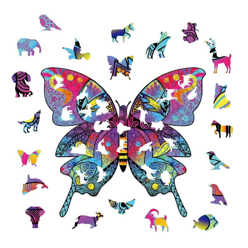 aliexpress.com - Jigsaw toy 3D wooden wooden butterfly DIY unique crafts animal shape birthday gift Intellectual wooden puzzle Pīntú wánjn puzzle